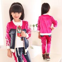 童装女童秋装套装2013新款潮儿童衣服韩版中大童牛仔丝绒拼接套装 价格:69.00