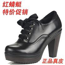 红蜻蜓正品女单鞋 2013秋高跟女鞋粗跟圆头真皮防水台妈妈单鞋女 价格:124.00