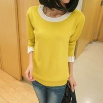 2013春装新款 韩版拼色宽松针织衫外套 女装复古低圆领长袖打底衫 价格:59.00