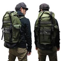 日单NOID朋克风铆钉户外outdoor复古登山包军绿色 数量有限 价格:348.00