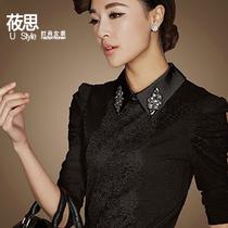 女士小衫2013新款 女长袖网纱打底衫女蕾丝上衣 女式长袖T恤衫 价格:80.00