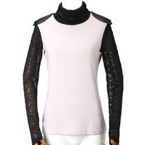 西蔻 T恤女 长袖 显瘦高领 蕾丝皮革拼接欧美 2013秋新款62240467 价格:149.00