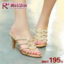 2014夏季新款波西米亚风水钻女凉拖高跟水晶公主鞋露趾细跟拖鞋 价格:195.00