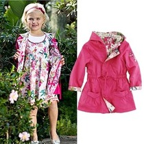 爆款2013秋季新款 kenzo女童 两面穿外套 双面穿风衣儿童中长外衣 价格:115.00