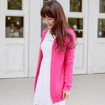 包邮 2013新款珍珠边小方块中长款薄款秋装长袖针织开衫毛衣外套 价格:68.00