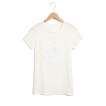 韩版名媛小香风香奈儿3d立体山茶花朵白修身女式t恤短袖纯色上衣 价格:50.00