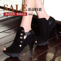 2013秋季新款女鞋 欧美真皮高跟鞋细跟 OL防水台鱼嘴鞋女单鞋包邮 价格:158.00
