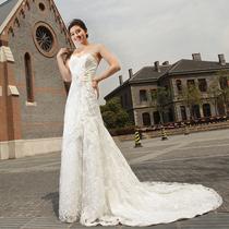 奢华宫廷 蕾丝唯美大码婚纱礼服豪华大拖尾新娘婚纱 高端定制包邮 价格:1080.00