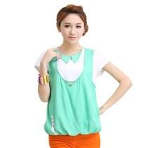 夏末清仓2013品牌女装两件套上衣青春修身拼接短T恤 宽松显瘦上衣 价格:19.90