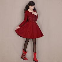 烟花烫YZ2013秋新款女装气质复古甜美修身显瘦毛呢外套大衣 风柔 价格:358.00