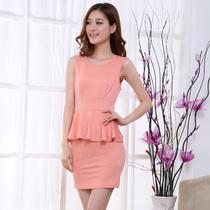 2013新款 韩版品牌服饰弹力无袖连衣裙 修身显瘦包臀铅笔裙 价格:38.85