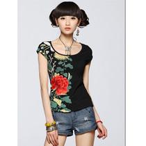 女装民族风夏装印花绣花针织修身短袖圆领T恤牡丹刺绣图案 清仓 价格:35.00