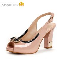 Shoebox/鞋柜13年夏新款女鞋1113303064 时尚鱼嘴粗跟高跟凉鞋 价格:69.00