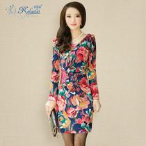 2013秋款连衣裙新款女装韩版高端牛奶丝大花V领修身包臀长袖裙子 价格:149.00