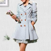 习习古风 秋装新款韩版时尚双排扣翻领蕾丝中长款女士外套风衣 价格:119.00