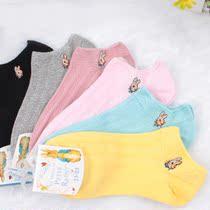 6双包邮 高品质可爱兔 船袜 女士短袜全棉袜子纯棉双针棉袜GD22 价格:3.90