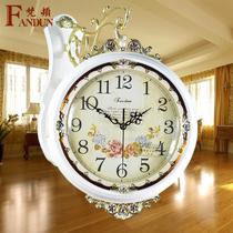 时尚创意田园双面挂钟欧式简约现代静音石英钟表大号客厅仿古时钟 价格:210.60