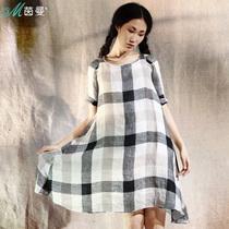 茵曼 2013夏装新款女简约亚麻格子中袖圆领连衣裙 VC8321020477 价格:559.00