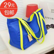 大包包2013新款 潮女包包韩版包荧光色撞色尼龙帆布手提包单肩包 价格:29.00
