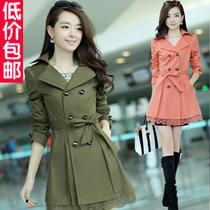 风衣女款2013新款秋冬外套修身中长款韩版女式风衣休闲装加大码女 价格:95.00