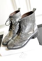 网上无双  秋季新款女靴子 欧美尖头低跟鞋 短靴子中筒靴马丁靴子 价格:128.00