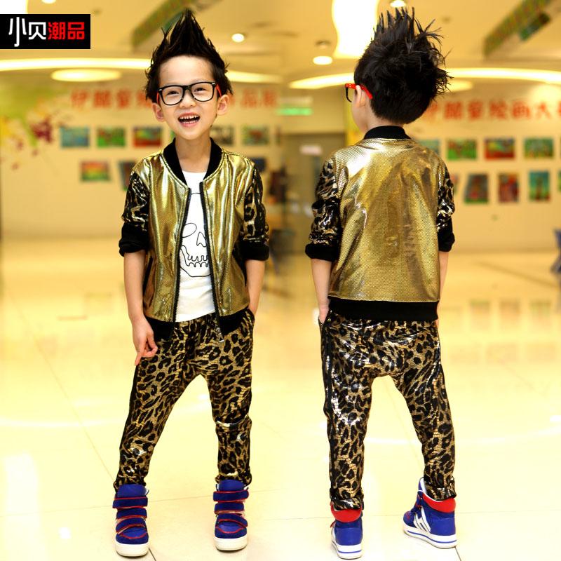 韩国儿童男孩子豹纹宝宝套装T1318小贝童装 男童秋装2013新款潮品 价格:98.00