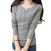 2013秋装新款女装韩版大码休闲女式打底衫小V领显瘦t恤女长袖 价格:43.00
