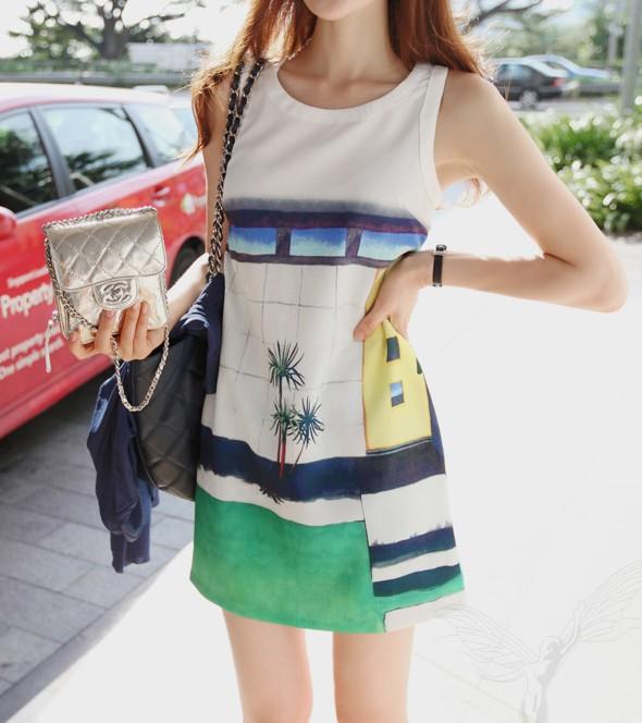 韩国代购韩版夏季甜美印花裙子波西米亚连衣裙修身圆领无袖背心裙 价格:71.00