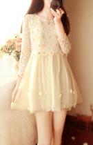 秋 仙女公主小清新甜美立体花朵假2件中袖蕾丝镂空蓬蓬纱连衣裙 价格:168.00