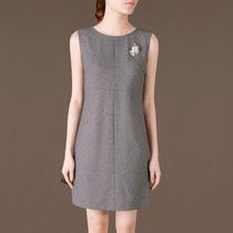 尘颜 2013秋装新款OL通勤优雅无袖圆领连衣裙 Q32有大码预 价格:398.00
