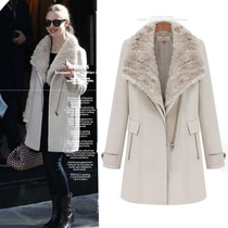 十衣素2013欧美新冬款毛领保暖加厚英伦风长款羊毛呢大衣外套女 价格:299.00
