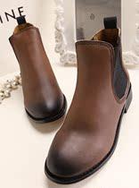 2013秋冬新款复古真皮鞋作旧擦色复古牛皮欧美英伦平底短靴女靴 价格:238.00