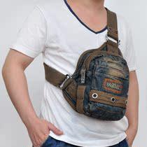 2013新款 牛仔包复古胸包洗水做旧男挂包帆布牛仔包 休闲布包包邮 价格:125.00