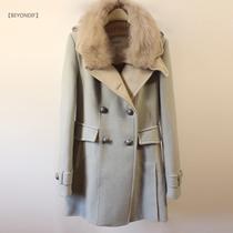2013女装冬季新款 真毛大狐狸毛领呢大衣 假两件套羊毛呢大衣外套 价格:549.00
