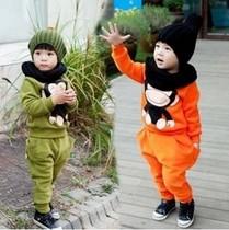 包邮童装批发2013秋款猴子韩版童套装 男童女童纯棉两件套 价格:46.90