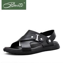 宾度2013新款男士头层牛皮男凉鞋 正品清仓真皮 套脚休闲沙滩鞋子 价格:712.00
