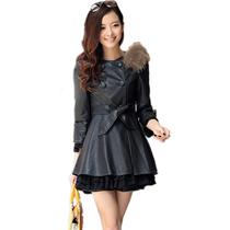 2013春秋新款女装大码皮风衣 韩版修身中长款女式PU皮衣外套 价格:108.00