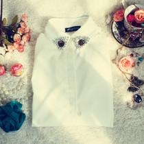 2013春季新款 甜美瑞丽白衬衫领子钉珠水钻 修身单排扣翻领黑衬衫 价格:55.50