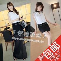 2013夏季新款女装韩版修身包臀显瘦v领2穿名媛风无袖雪纺连衣裙子 价格:48.02