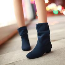 洛丽塔中跟短靴女磨砂皮单靴2013秋冬新款骑士靴粗跟女靴子潮 价格:65.00