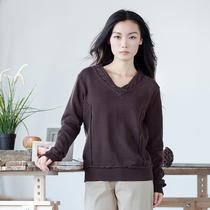 南国衣人 红尘陌上。秋装新款斯琴风格V领简约套头针织衫女-3色 价格:188.00