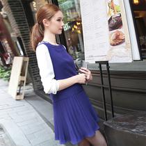JIN GENERATION 无敌显白彩蓝色水钻细节百折连身裙 JS044 价格:195.00