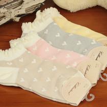 外贸单品可爱爱心花边荷叶边全棉短袜船袜纯棉女士袜子2013春批发 价格:4.90