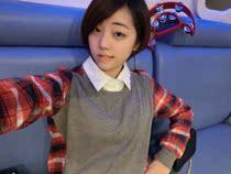 包邮2013秋装新款韩版拼接圆领格子宽松中长款大码打底衫长袖T恤 价格:23.50