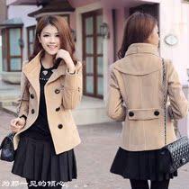 韩版秋冬装新款修身呢子外套 时尚保暖大码短款呢大衣 毛呢女装 价格:99.00