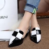 2013新款欧洲站女瓢鞋真皮女鞋粗跟拼色单鞋中跟尖头英伦潮女式鞋 价格:198.00