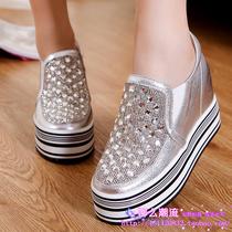 2013新款韩版水钻松糕单鞋内增高厚底休闲鞋真皮坡跟女鞋板鞋潮 价格:298.00