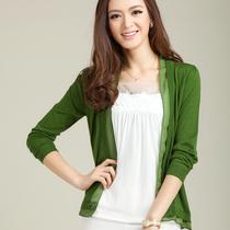包邮雪纺女式针织衫长袖外搭秋装薄款纯色防晒空调衫百搭开衫 价格:60.00