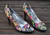 外贸 欧美时尚新款 高跟带防水台花布面鱼嘴女凉鞋 孤品特价 价格:49.99