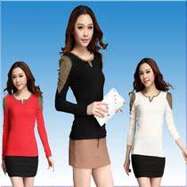 2013秋季新款女士长袖T恤白色V领T恤黑色修身打底衫女韩版潮包邮 价格:45.00